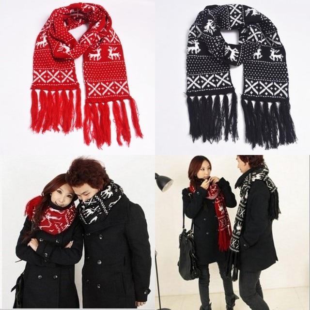 Double Shelf Knitting Scarf Wrap With Long Tassel Reindeer Christmas