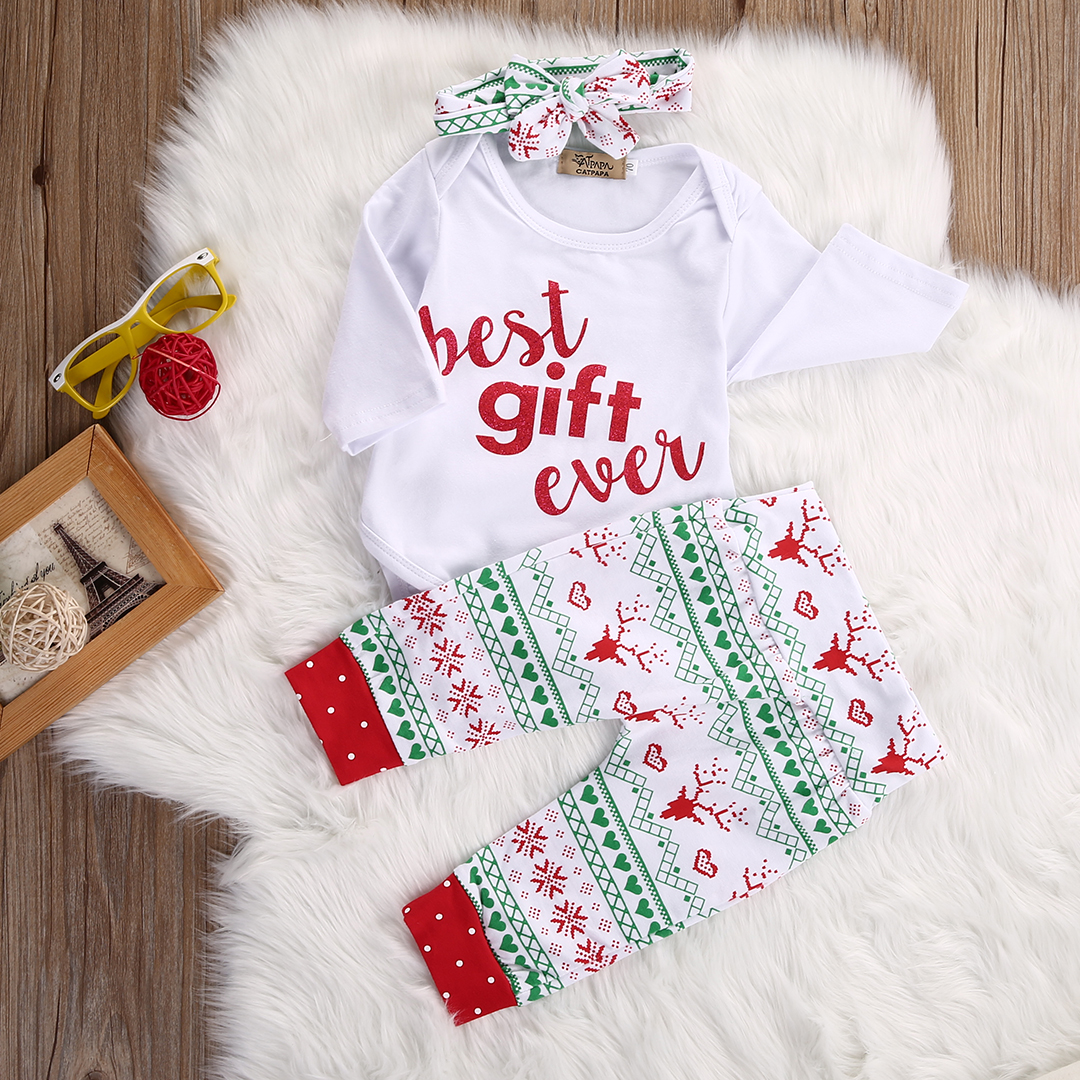 3pcs suit !!! Infant Baby Girl Boy Long Sleeve letter printed Romper ...