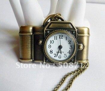 Free shipping!!! 10pcs/lot  Retro style Bronze slide 42*30mm camera pocket watch necklace