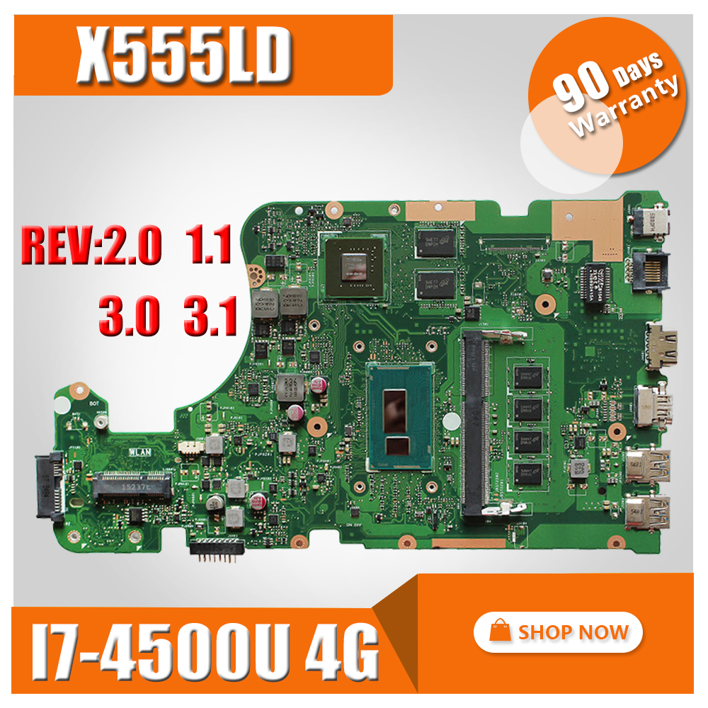 X555LD Motherboard i7 CPU 2G RAM For ASUS X555L F555L X555LDB X555LN Laptop motherboard X555LD Mainboard X555LD Motherboard for asus laptop motherboard x555ld x555l x555ld f555ld x555ln x555ldb rev 3 1 mainboard with i7 cpu gt840m 2g 100% tested