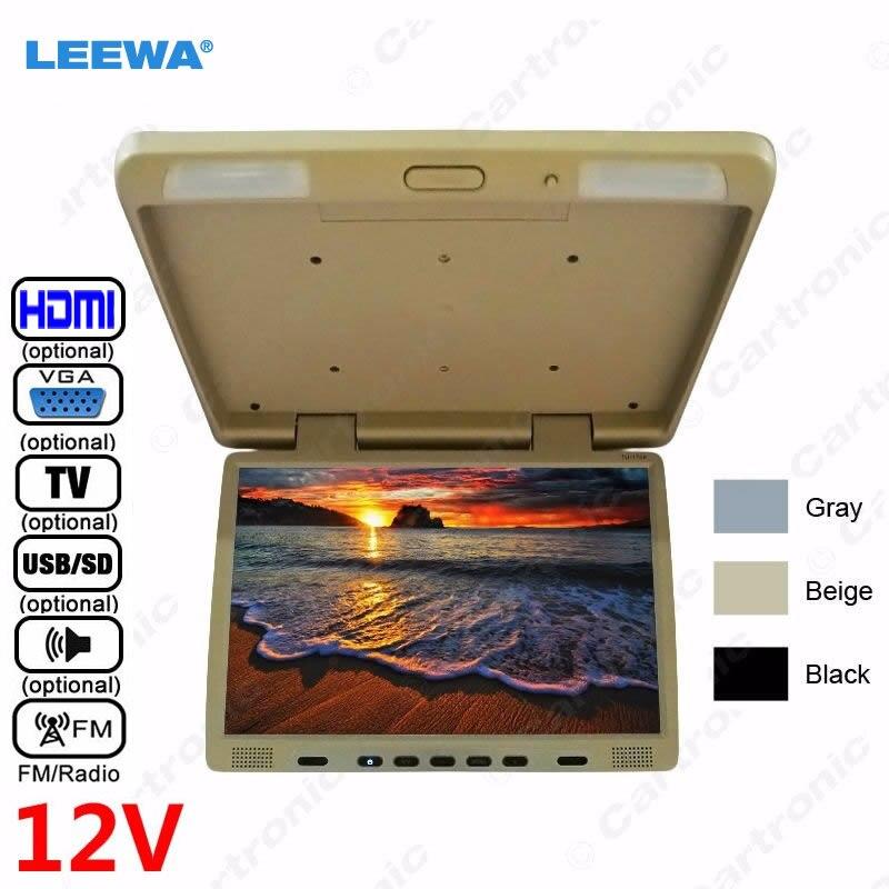 LEEWA В 12 В Грузовик Автобус 17 дюймов TFT ЖК дисплей на крышу монитор флип монитор для автомобиля dvd плеер ТВ USB SD FM VGA динамик HDMI