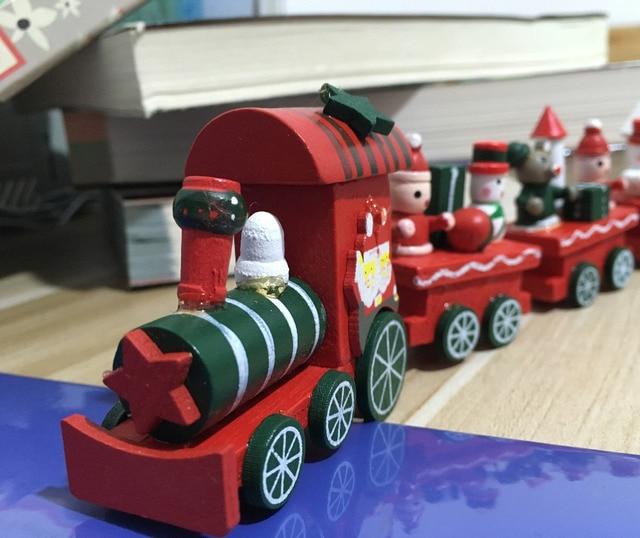 2016 Рождество Крашеное Дерево Поезд Новогоднее Украшение для дома с Санта/Рождество медведь малыш игрушки подарок украшение навидад новый год