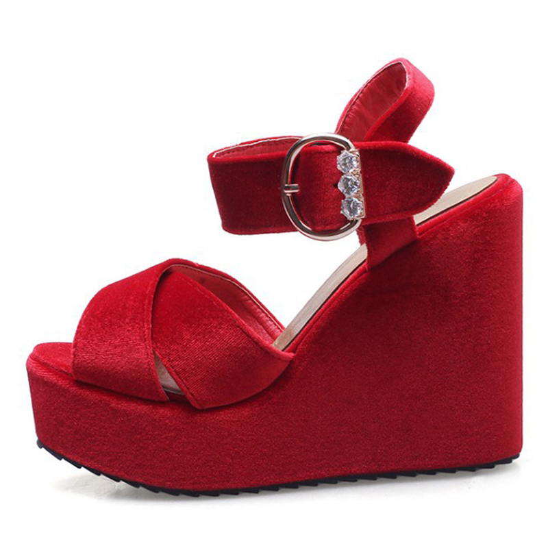 c0a9e02b0 LALA IKAI Platform Wedges Sandals women velvet shoes with Metal buckle  rhinestone plus size 43 12 XWF1002-in Women s Sandals from Shoes on  Aliexpress.com ...