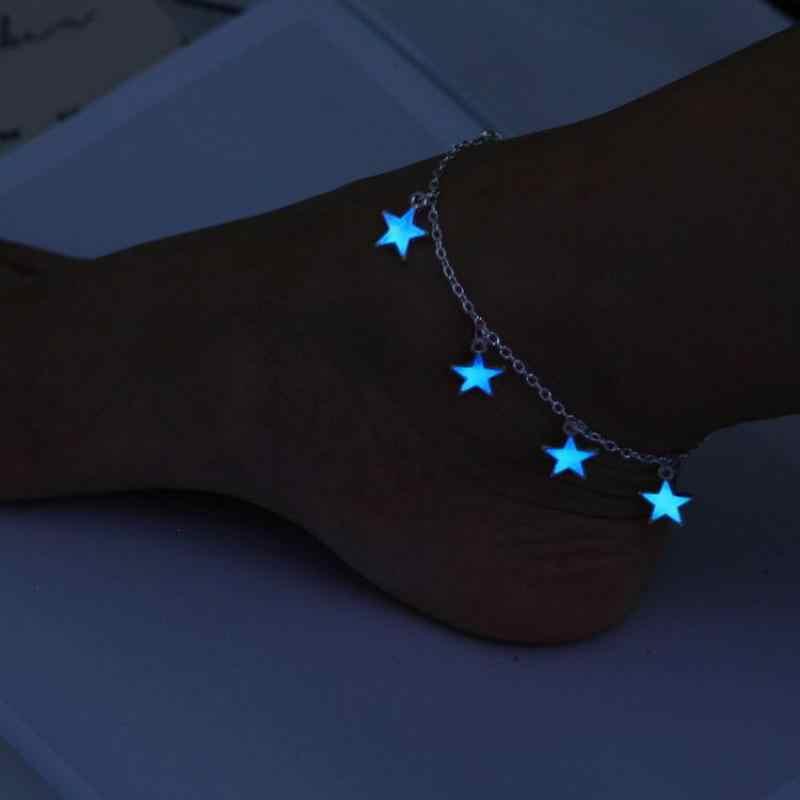 2017 新年夜光レディースビーチ風ブルー五角形スタータッセルアンクレットシルバーチェーン女性の素足サンダル