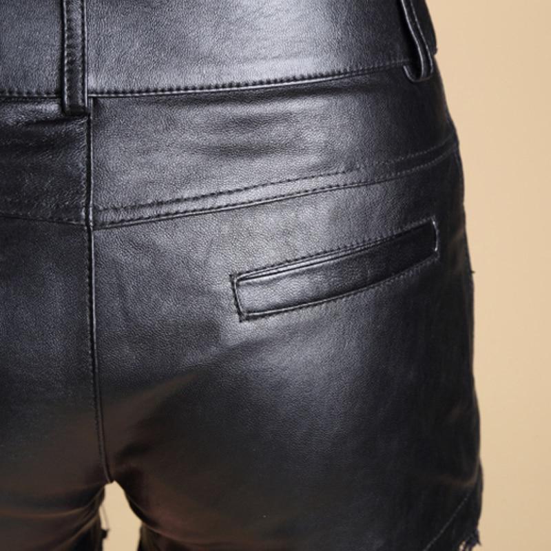 Svadilfari all'ingrosso 2017 nuovi bicchierini di modo delle donne di pelle di pecora bicchierini mini sexy shorts in pelle plus size nero corto femminile - 6
