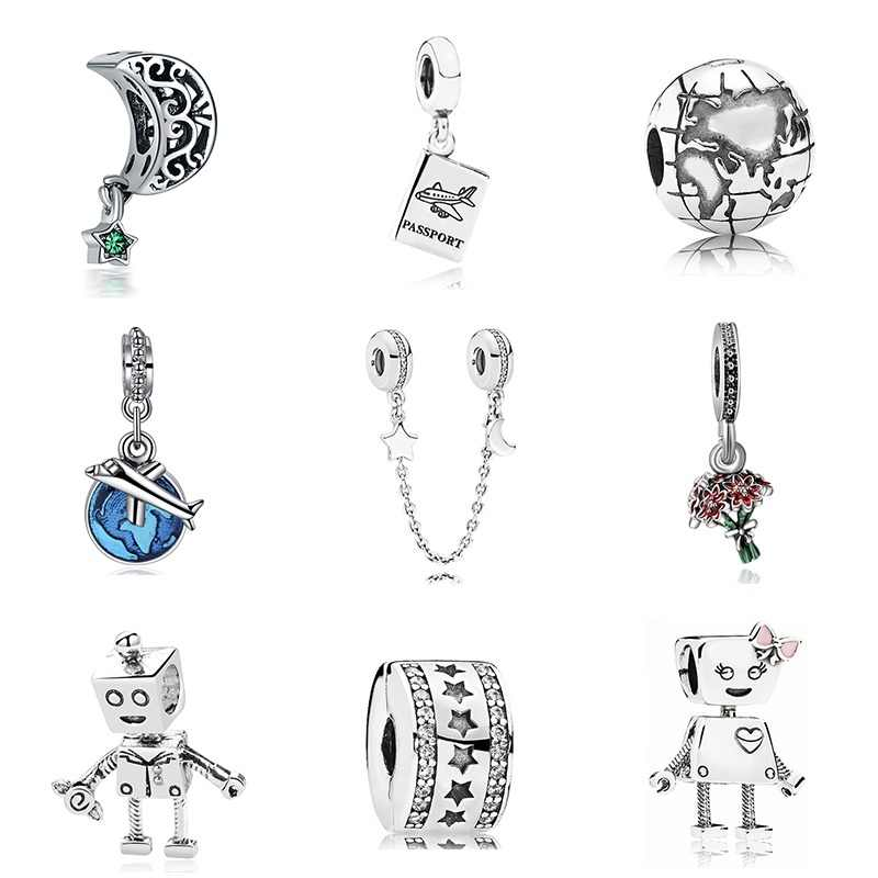 New Original Free Shipping Sliver Plated Bead Holiday Travel Christmas Charm Fit Pandora Bracelet Necklace DIY Women Jewelry
