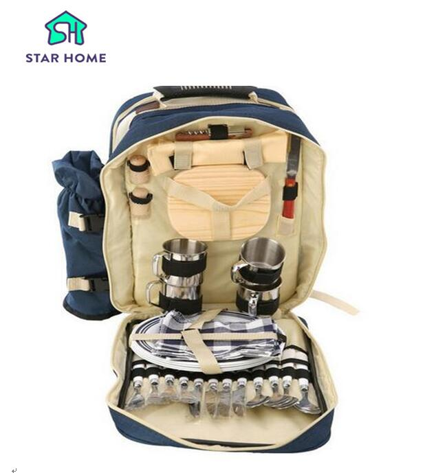 Star Home Portable Picnic Backpack With Tableware 4 Person Outdoor Camping Bag Waterproof Canvas Food Insulated Picnic Bags gzl new gray waterproof cooler bag large meal package lunch picnic bag insulation thermal insulated 20
