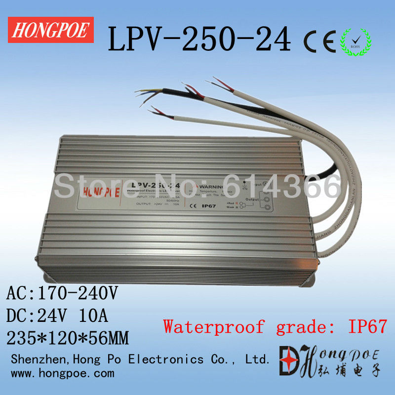 IP67 24V 10A 250W AC230V Input Electronic Waterproof Led Power Supply/ Led Adapter 24V 250W  LPV-250-24 meanwell 24v 35w ul certificated lpv series ip67 waterproof power supply 90 264v ac to 24v dc
