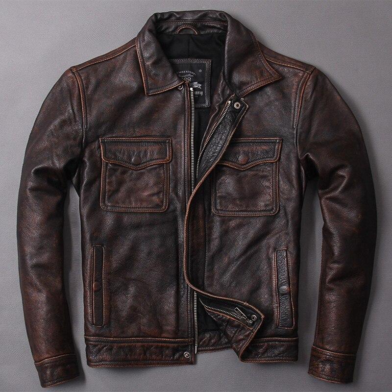 HARLEY DAMSON Винтаж коричневый для мужчин Классический повседневное кожаная куртка плюс размеры 5XL Slim Fit из натуральной яловой кожи осен