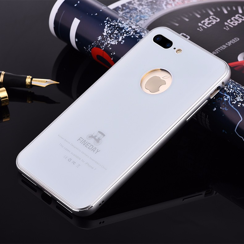 iMatch Aviation Aluminum Alloy Metal Bumper Tempered Glass Back Cover Case for Apple iPhone 7 Plus & iPhone 7