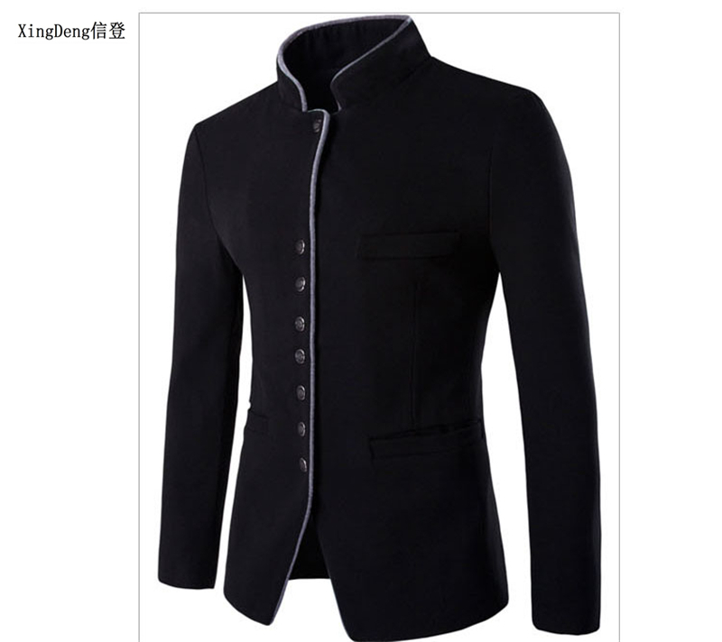 XingDeng New Fall 2018 Slim Fit Cotton Blazer For Quality Blazers Top Coat Men Chinese Suits Jackets Costume Homme Clothing