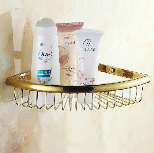 New Luxury Wall Mounted Golden Shower Basket Shelf for Cosmetic Orgnizer golden shower basket bathroom holder