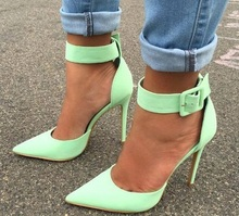 Hot Selling Green Beige Leather Big Ankle Strap Pumps Women Shoes Pointed Toe Cut-out Patchwork Ladies Shoes With Heel Customize handmade christmas green emerald suede sheet leather heel greenery wedding shoes with knot open toe ankle strap d orsay pumps