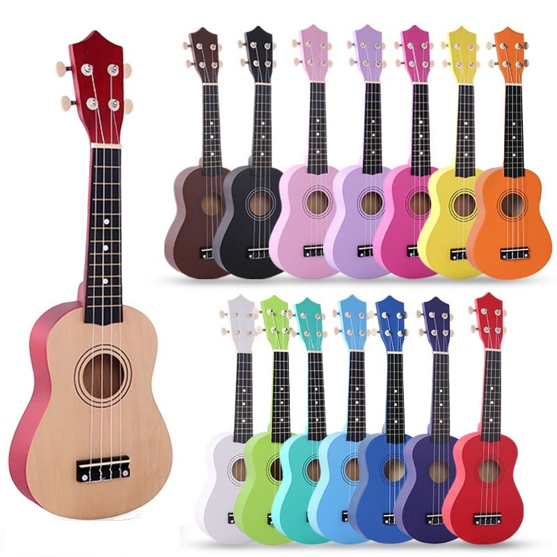 21 inch Ukulele Soprano Basswood Acoustic Nylon 4 Strings Ukulele Colorful Mini Guitar For Children Gift  with strings and picks(China)