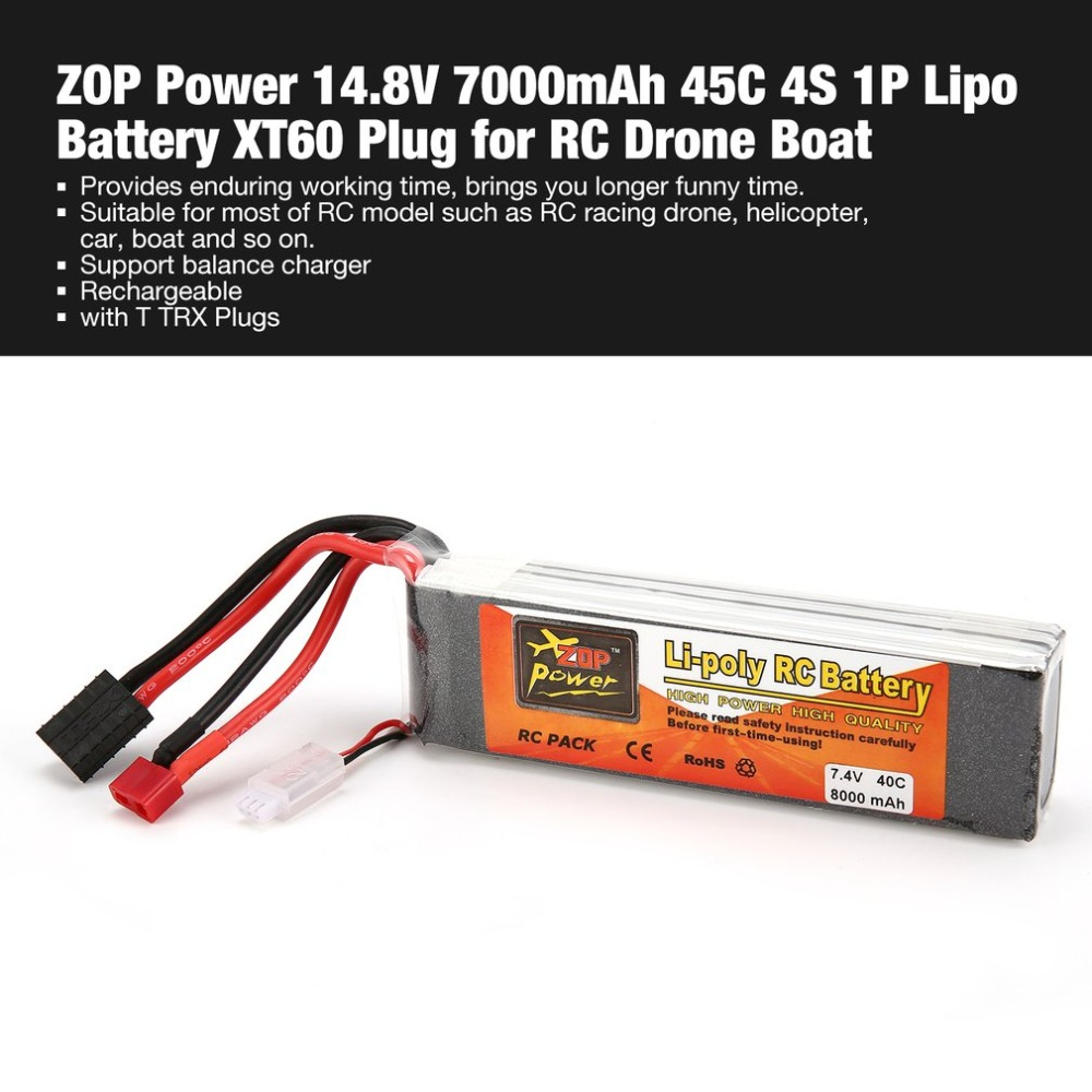 ZOP Power 7.4V 8000mAh 40C 2S 1P Lipo Battery T TRX Plug Rechargeable for RC Racing Drone Quadcopter Helicopter Car Boat image