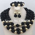 Chunky Layered Black African Beads Balls Necklace Set Gold plated Dubai Bridal Jewelry Set Big Balls Set Free Shipping