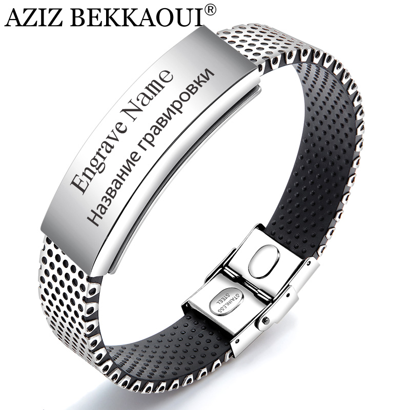 AZIZ BEKKAOUI Black Magnetic Engrave Name Bracelets For Men Stainless Steel Personalized Name Bangle Vintage Male Jewelry bangle