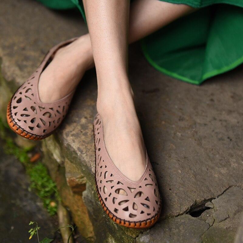 Artmu الأصلي جديد الجوف منحوتة جلد طبيعي النساء الصنادل شقة مريحة كل مباراة اليدوية أحذية ناعمة 9707-في أحذية نسائية مسطحة من أحذية على  مجموعة 3