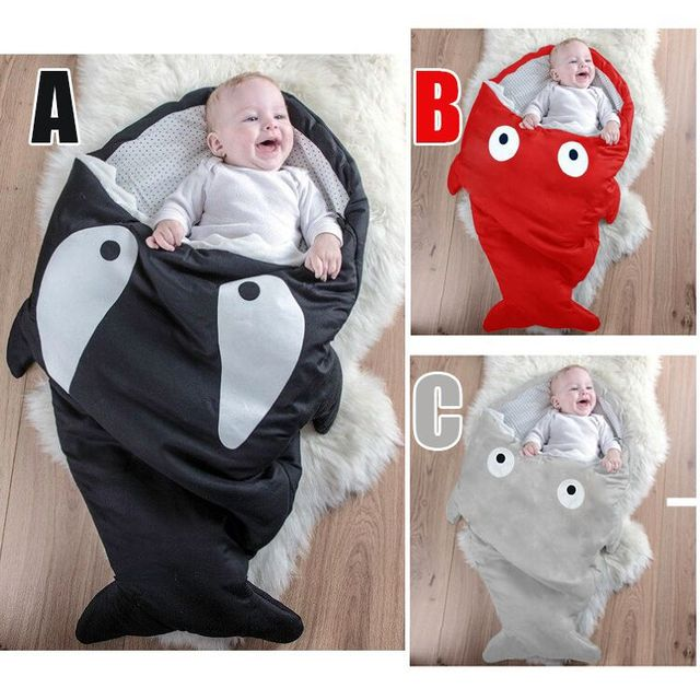Newborn baby shark sleeping bags cute red winter cartoon baby Sleepsacks cotton warm Swaddle carriage bedding stroller bebe