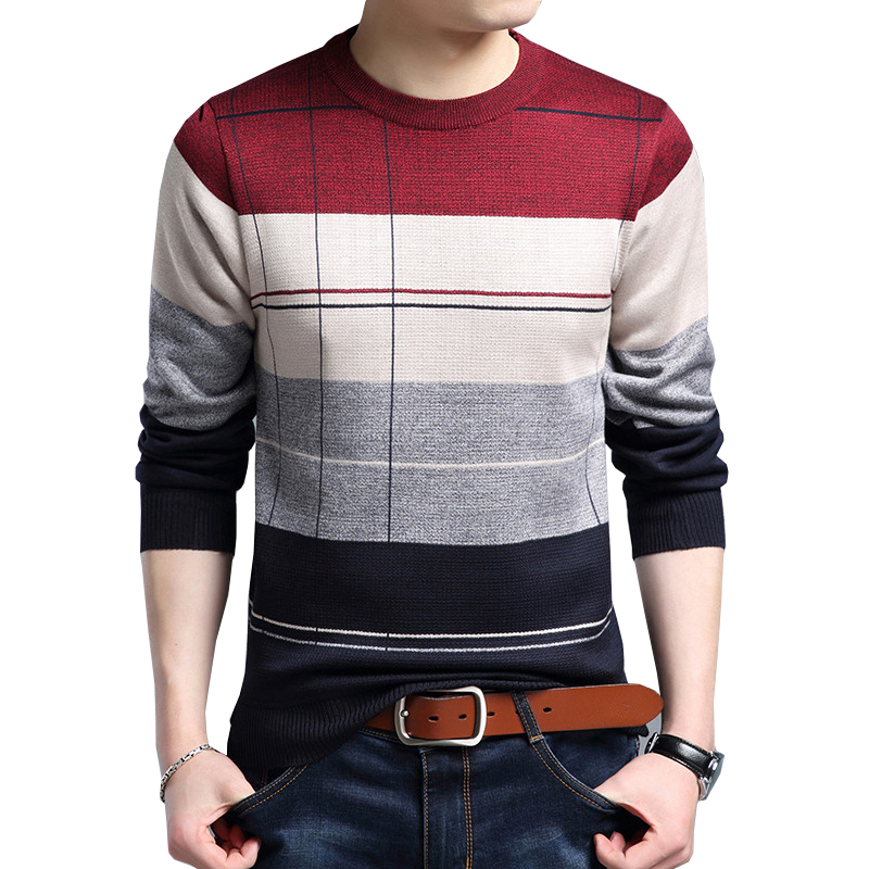 Drop Shippingm Thin Men's Pullover Sweaters Casual Crocheted Striped Knitted Sweater Men Masculino AXP132