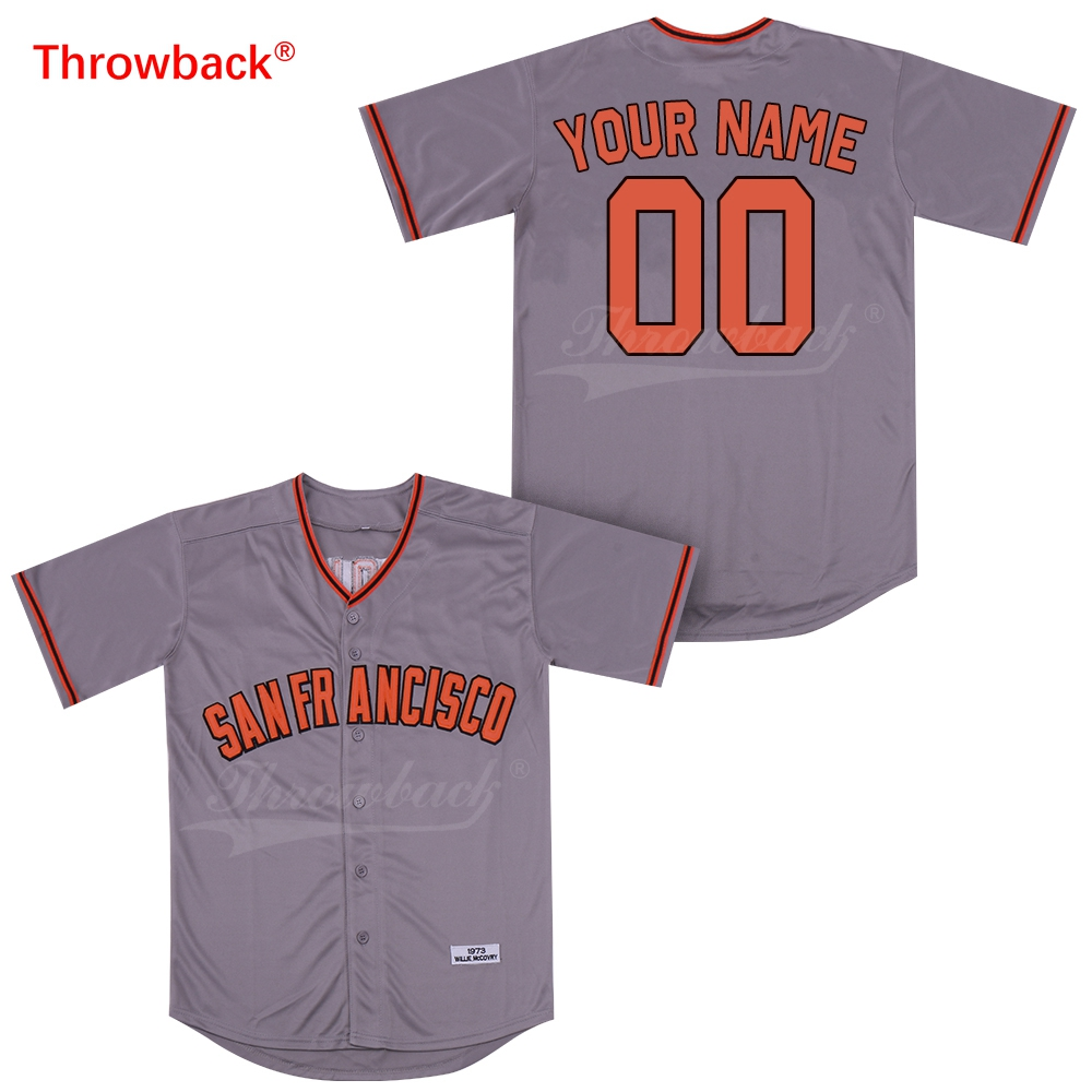 super popular ac5c8 4356d Throwback Jersey Men's San Francisco Customized Any Name Any Number  Baseball Jersey Stitched Button Down 1973 Gray Cheap-in Baseball Jerseys  from ...