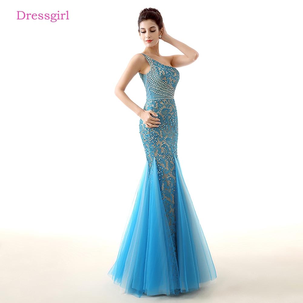 Bleu robes De soirée 2019 sirène une épaule Tulle dentelle perlée élégante femmes longue Robe De soirée Robe De bal Robe De soirée