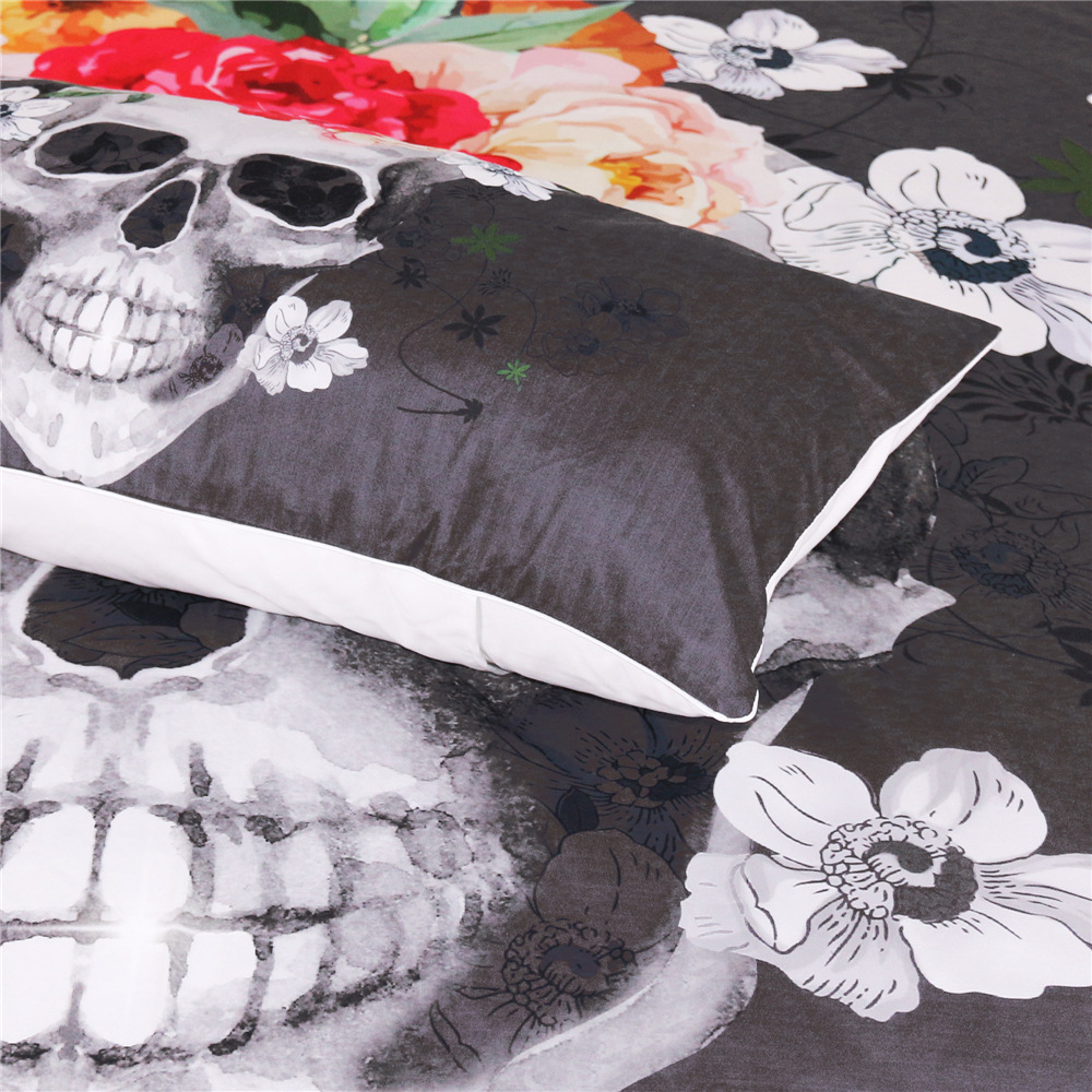 Cilected 2pcs Skull Flowers Pillow cases Nightmare Before Christmas ...