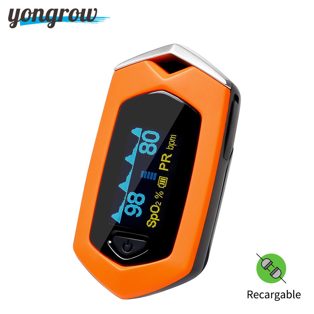 Yongrow Medical Family Finger Pulse Oximeter Blood Oxygen Saturation SPO2 Pediatric Pulse Oximeter Rechargeable m70 oximeter detector medical oxygen clip on finger oximeter