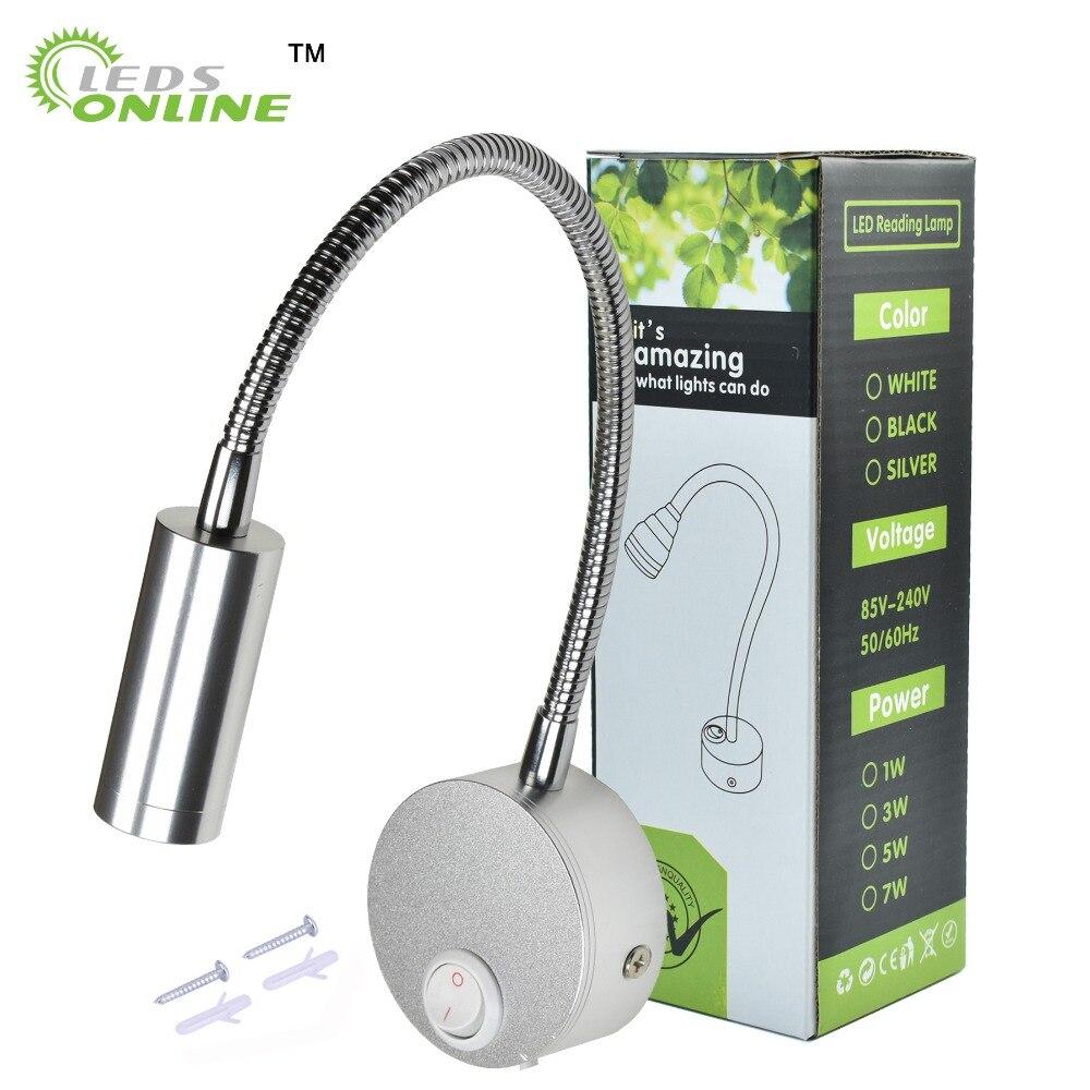 Настенные Светильники LED с ручкой переключателя ЕС США Plug 3 Вт современное прочтение Спальня ночники черный, серебристый цвет гибкий 360 Угол Вращающийся