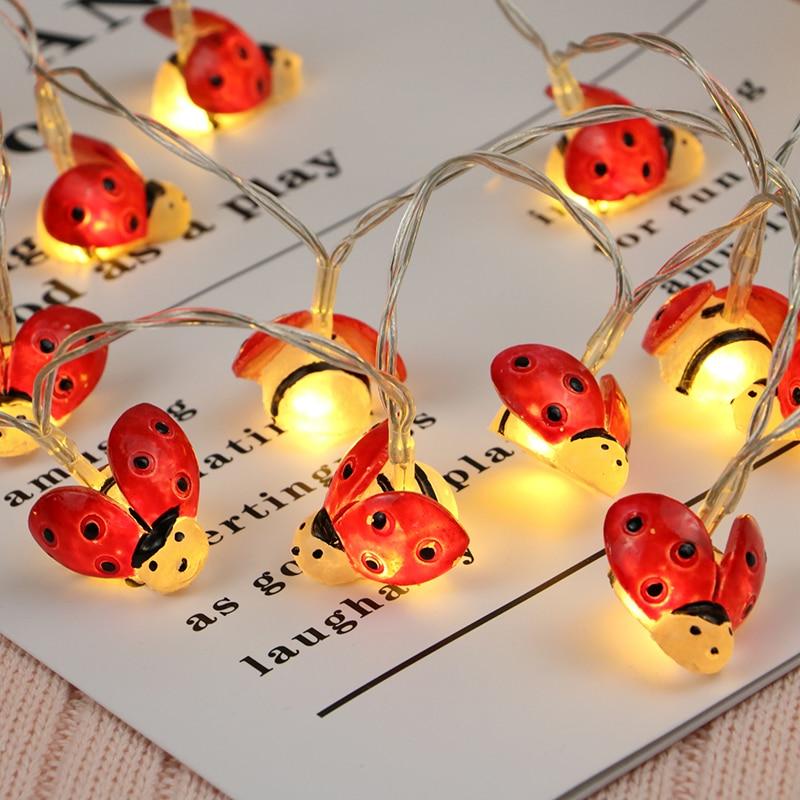 20Led 3cm Fairy Red Ladybug <font><b>Battery</b></font> Operated String Lights 2m LED Decoration For Christmas Garland <font><b>verlichting</b></font> slinger