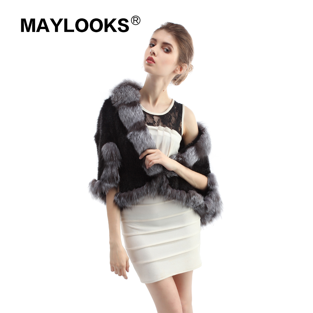 New Genuine Knit Mink Fur Shawl Poncho With Fox fur collar Trimming Real mink fur jacket Fashion Women QF39