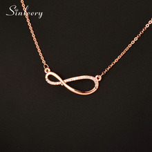 SINLEERY Brilliant Crystal Infinity Anheng Halskjede Rose Gold / Sølv Farge Chain For Women / Lover Mote Smykker Gift XL096 SSD