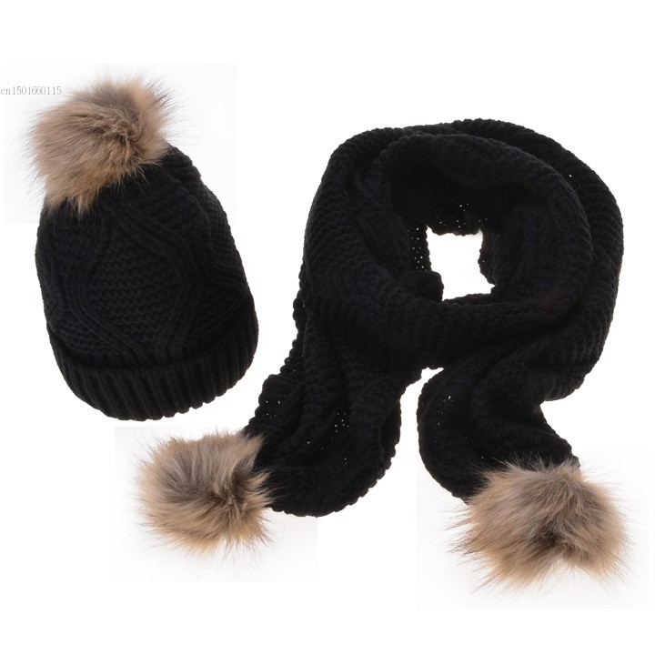 Promotion 2015 Knitted Hats Fashion Lady Warm Ski Slouch Fur Hats Casual Cap Winter Scarf Set