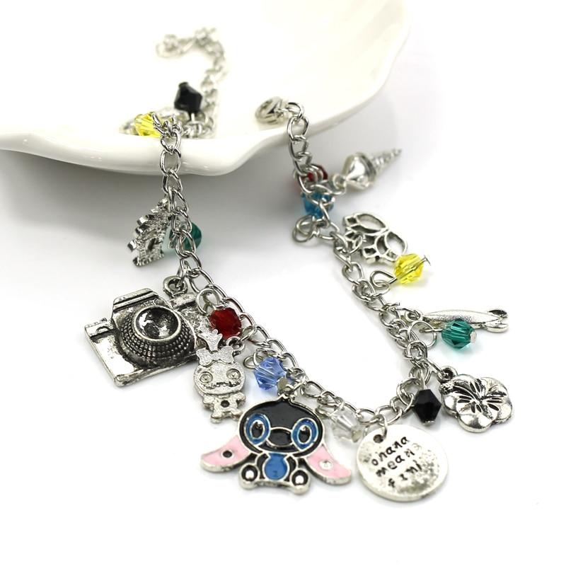 Cartoon OHANA Charm Bracelet Cute Ohana Friendship Lilo Stitch Theme Bangle & Bracelet Cute Family Wristlet Women Girls Jewelry