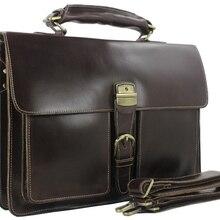 Модный высококачественный итальянский портфель из натуральной кожи, мужской кожаный портфель для ноутбука, сумка через плечо