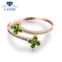 LANMI Solid 14Kt Rose Gold Pear cut Tsavorite Diamond Wedding Bangle with Sapphir and Emerald for Women Anniversary Jewelry