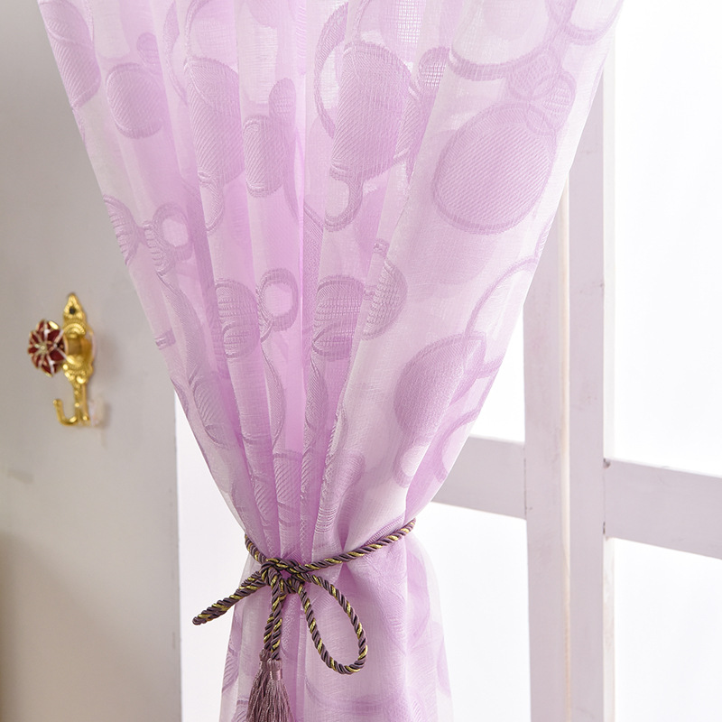 Modern Simple Grey Circles Pattern Window Sheer Curtains Purple Endless Tulle Drapes For Living Room Bedroom AG2522 In From Home Garden