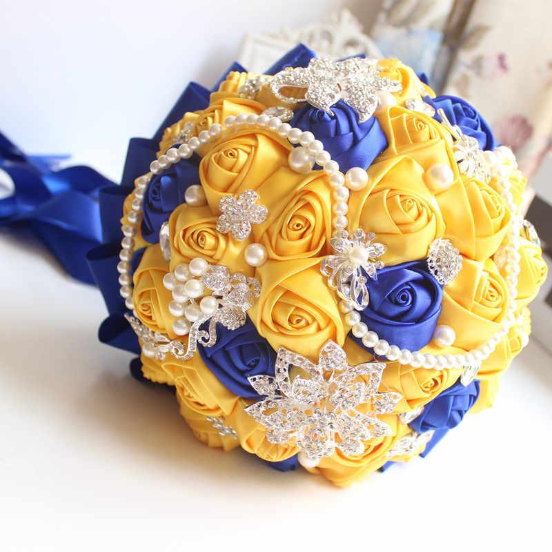 Janevini 2018 Mewah Kristal Satin Kuning Pernikahan Bouquet Handmade Bunga Mawar Bridal Bros Ramo Novia Flor Buatan