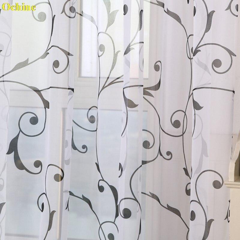 OCHINE Printed Transparent Bay Window French Window Curtain S Hook