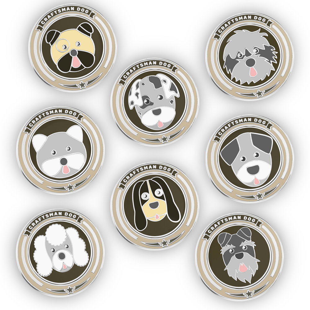 Craftsman Magnetic Golf Ball Marker Dogs Ball Markers 4mm Thickness Doggie Pattern Stainless Steel High Quality