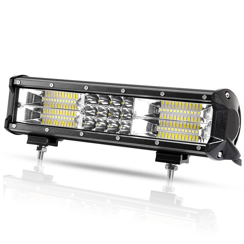 12 Inch Tri-row Offroad LED Light Bar Combo Beam Spotlight LED Work Fog Light For Truck Tractor UAZ ATV SUV 4x4 Auto Headlight