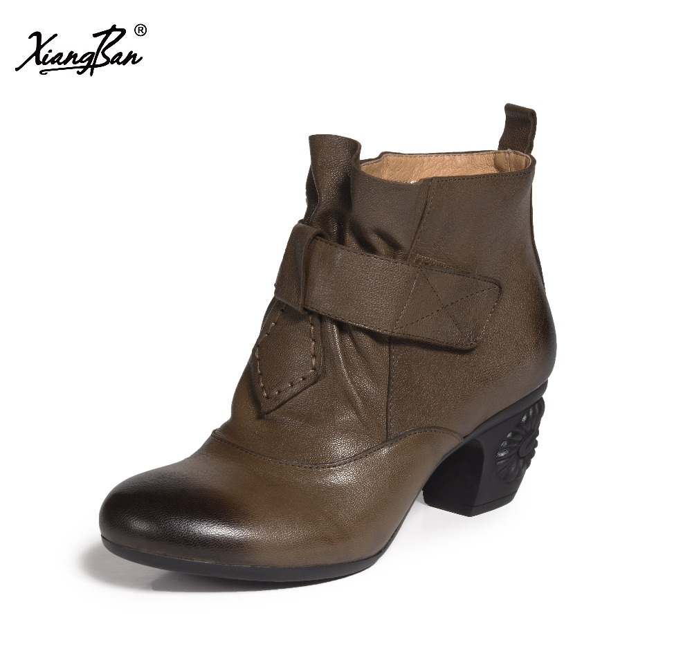 2018 spring autumn female shoes casual ankle boots women fashion ladies boots round head genuine leather handmade xiangban 2017 xiangban women ankle boots handmade genuine leather woman short boots spring autumn round toe female footwear