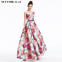 SOCCI Vintage Perspective V Neck Formal Long Evening Dress Lace Up Back Flowers Dresses Vestido de