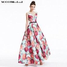 SOCCI Vintage Perspectiva Cuello En V de Noche Formal Largo Vestido de Encaje Hasta la Espalda Vestidos de Flores Vestido de Festa de Casamento