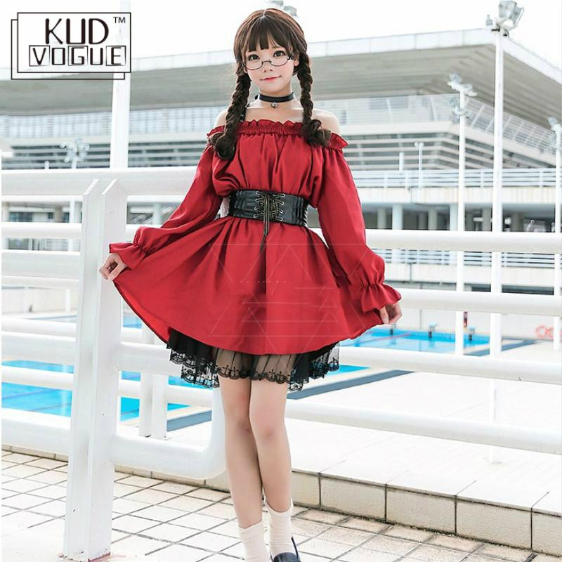 Adult Anime Maid Cosplay Costume Female Sweet Wine Red Gothic Lolita Dress A Sexy Off-the-shoulder Party Clothes For Girls 8446