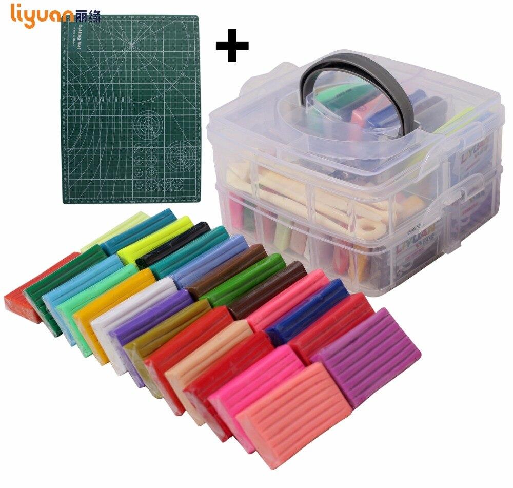 Liyuan 50 colores polímero arcilla [doble cubierta] de modelado de arcilla playdough con la herramienta conjunto de caja de regalo para niño 1000g/35,27 oz