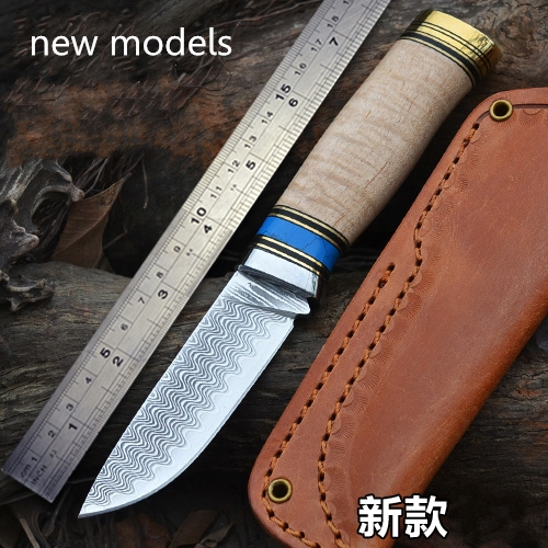 sharp knife Damascus  high hardness outdoor exploration Beautiful water ripple, tactical knife Multi-function pattern saury tool bestlead chinese peony pattern zirconia ceramics 4 6 knife chopping knife peeler holder
