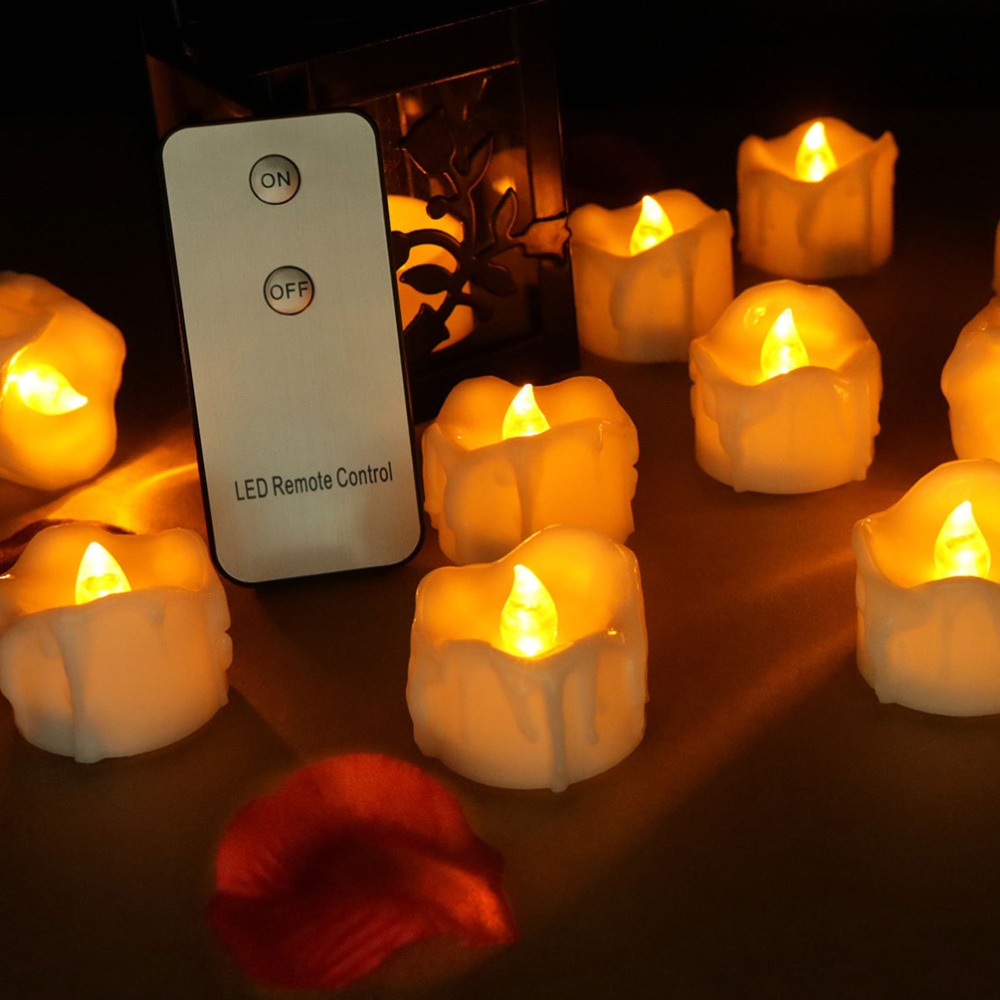 12 pieces Flickering yellow kaars <font><b>led</b></font> afstansbediening, battery operated bougie telecommande ,warm white electric candle image