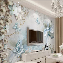 Custom 3d mural butterfly flower three-dimensional ornate wall decoration painting wallpaper photo