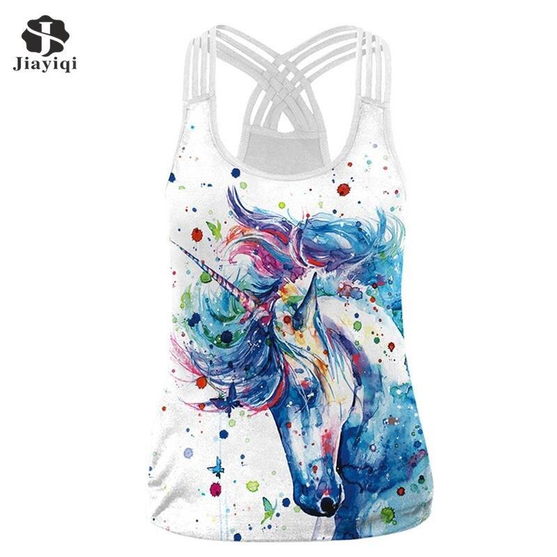 JIAYIQI Plus Size Ladies 3D Digital Print Skeleton Tops Women Summer Sexy Skull Print Sleeveless Vest 2018 Fashion Tees Shirts
